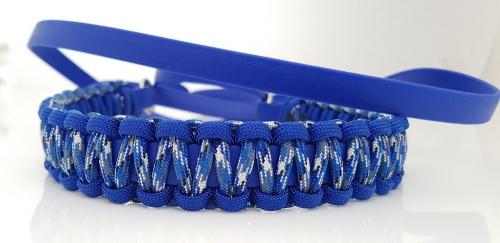 Biothane halsband met paracord omweven, biothane riem.