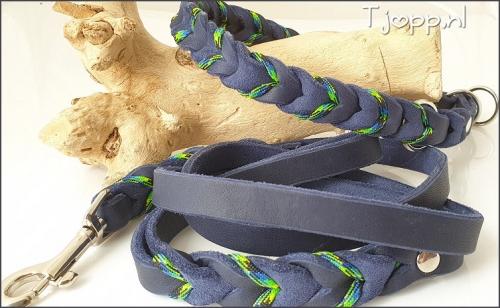 Vetleren riem en halsband beide met paracord.