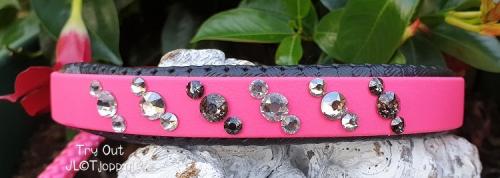 Biothane halsband met Swarovski steentjes en een korthouder van ppm.