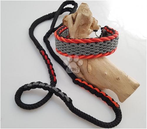 Paracord halsband met een ppm riem.